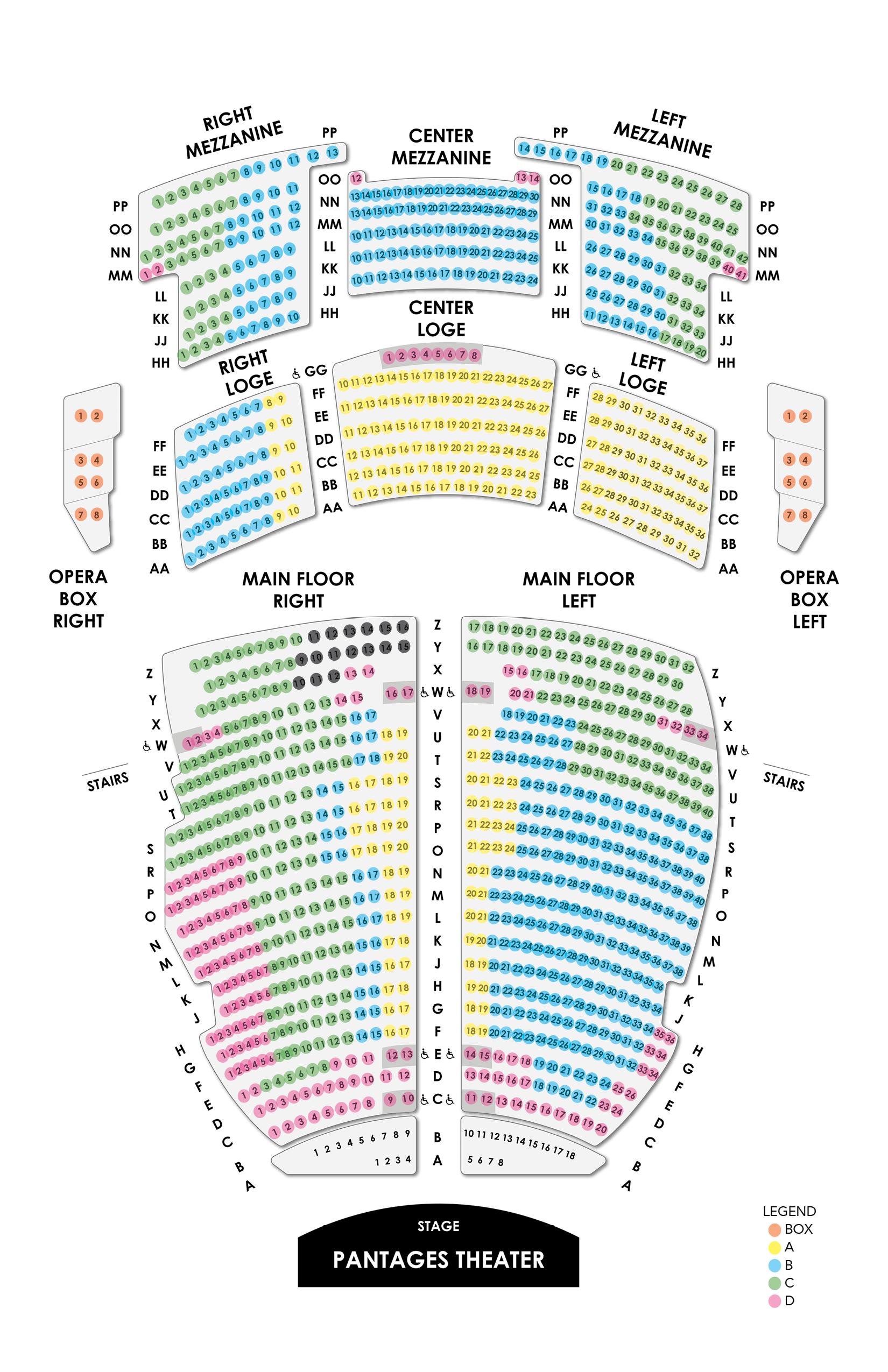 Pantages Seating Map